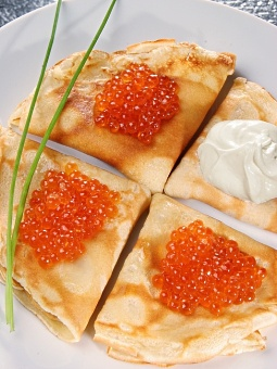 Crepes with Red Caviar and Sour Cream