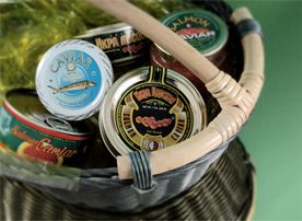 Basket with Caviar cans