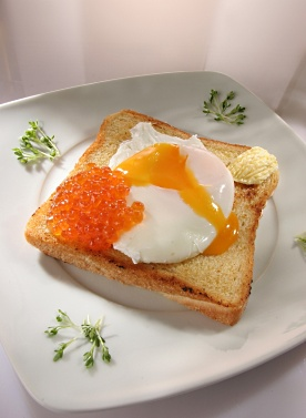 Toast with Red Caviar